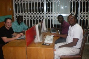 Ash, Roland, Eric and Jatoe hanging out at Easy Link Internet on Saturday night in Kumasi