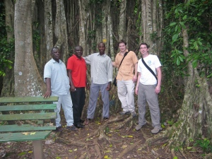 Churcher, Roland, Jonah, Ash and Evan at the Banyan Tree