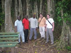 Churcher, Roland, Jonah, Ash and Evan at the Banyan Tree